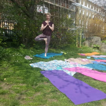 Lucy - assisting with Islington in Bloom yoga